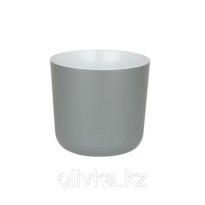 Пластиковый горшок с вкладкой «Лион», цвет серый