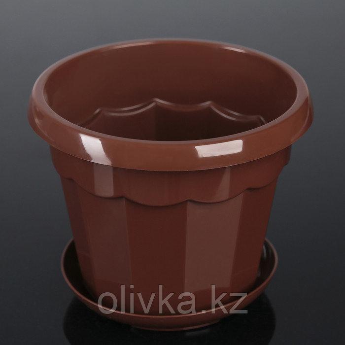 Горшок для цветов с поддоном Доляна «Эрика», 1,8 л, цвет коричневый