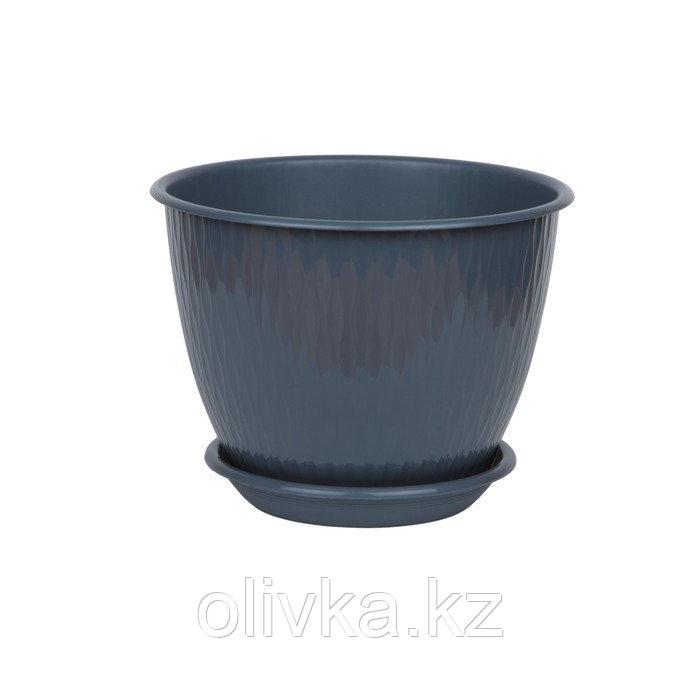 Пластиковый горшок с поддоном «Рэйн», цвет антрацит