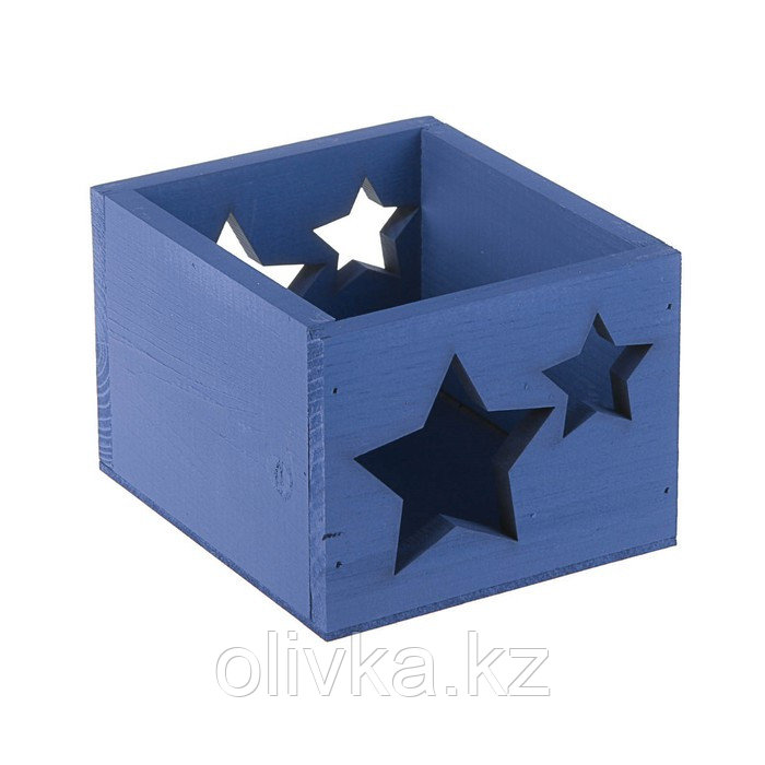 "Кашпо деревянное 14.5×12.5×9 см Элегант ""Звёзды"", синий Дарим Красиво"
