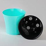 Кашпо со вставкой «Арте», 0,6 л, цвет мятный-чёрный, фото 2
