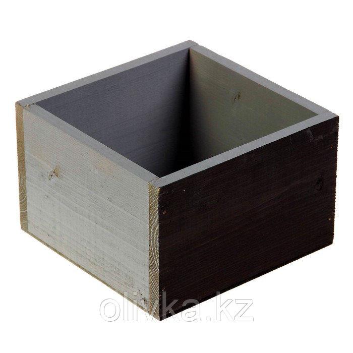 Кашпо деревянное 14.5×12.5×9 см Элегант, грифельная сторона, серый Дарим Красиво