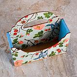 """Кашпо деревянное 20.5×6×18 см Конверт Александра """"Синицы на ветках"""", ручка, с печатью, фото 2"""