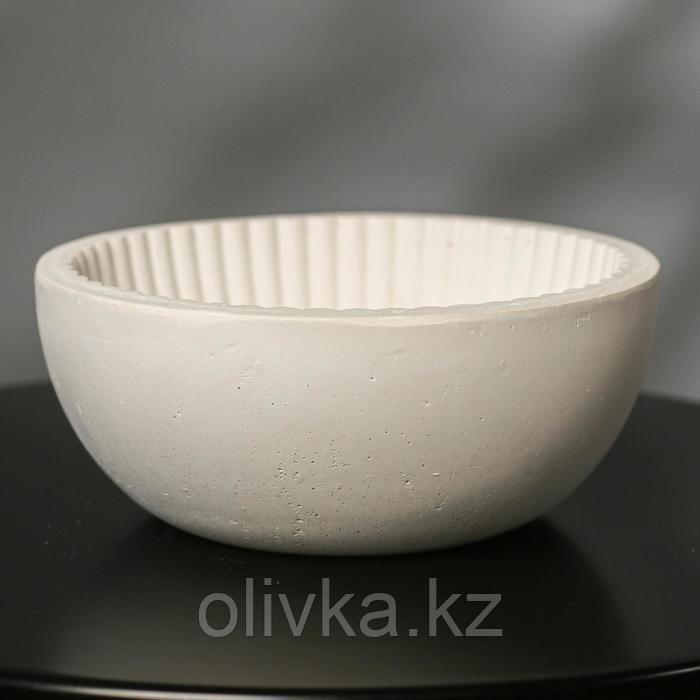 Кашпо круглое из гипса «Эстетика», цвет белый, 20 × 8.5 см