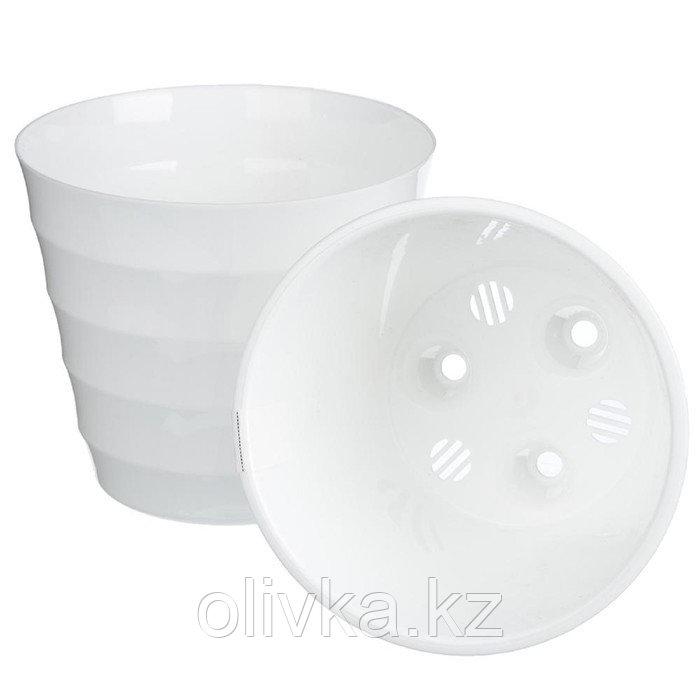 Пластиковый горшок с вкладкой «Лаура», белый