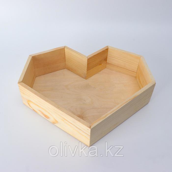 """Кашпо деревянное 29.5×7 см """"Сердце"""" подарочное, натуральный"""