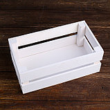 """Кашпо деревянное 24.5×13.5×9 см """"Двушка Лайт"""", двухреечное, белый Дарим Красиво, фото 2"""