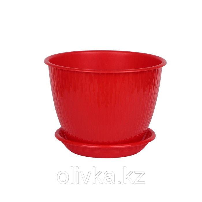 Пластиковый горшок с поддоном «Рэйн», цвет красный