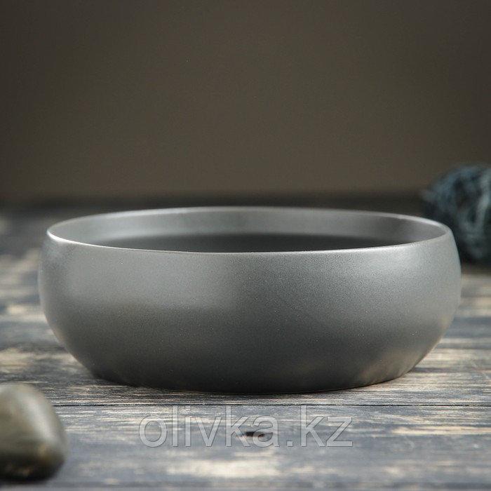 """Кашпо-бонсайница керамическое круглое """"Плошка"""" серое 16*16*5 см"""
