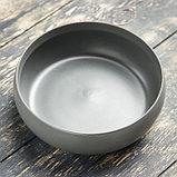 """Кашпо-бонсайница керамическое круглое """"Плошка"""" серое 16*16*5 см, фото 2"""