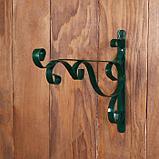 Кронштейн для кашпо, кованый, 30 см, металл, зелёный, «Загиб», фото 2