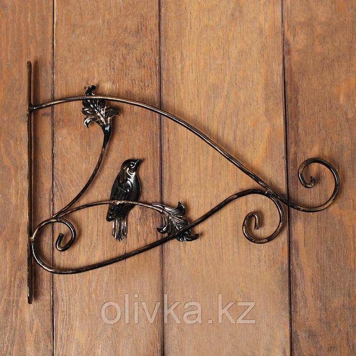 Кронштейн для кашпо, кованый, 30 см, металл, чёрный, «Синичка»