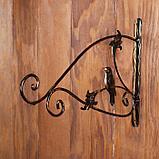 Кронштейн для кашпо, кованый, 30 см, металл, чёрный, «Синичка», фото 2