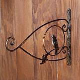 Кронштейн для кашпо, кованый, 30 см, металл, чёрный, «Птичка», фото 2