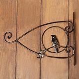 Кронштейн для кашпо, кованый, 30 см, металл, чёрный, «Птичка», фото 5