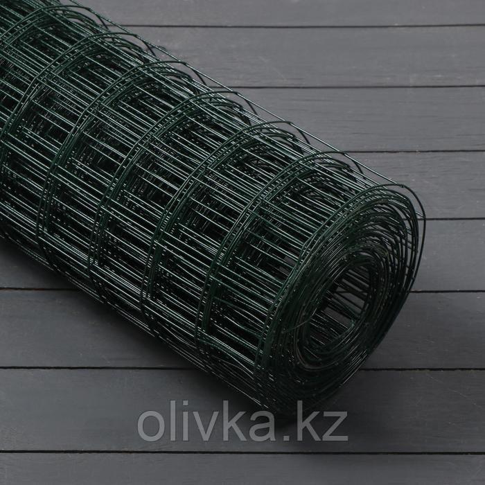 Сетка сварная с ПВХ покрытием 1 х 10 м, ячейка 25 х 25 мм, d=0,9 мм, металл, зеленая