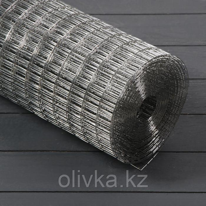 Сетка оцинкованная сварная 1 х 10 м, ячейка 12,5 х 12,5 мм, d=0,8 мм, металл