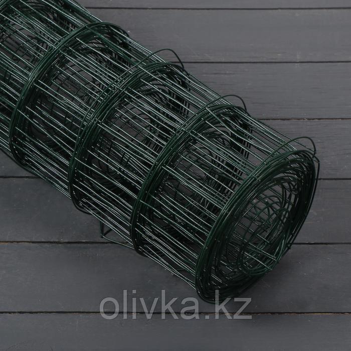 Сетка сварная с ПВХ покрытием 1,5 х 10 м, ячейка 50 х 75 мм, d=1,6 мм, металл, зеленая