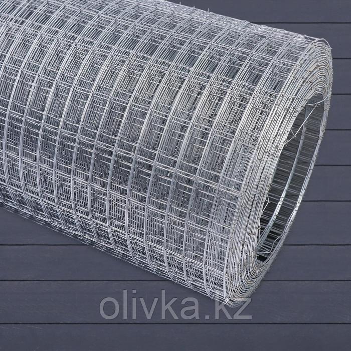 Сетка оцинкованная сварная 1 х 10 м, ячейка 25 х 50 мм, d=1,6 мм, металл
