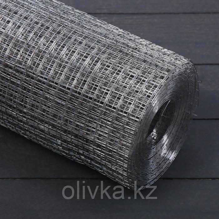 Сетка оцинкованная сварная 1 х 10 м, ячейка 25 х 25 мм, d=1,6 мм, металл