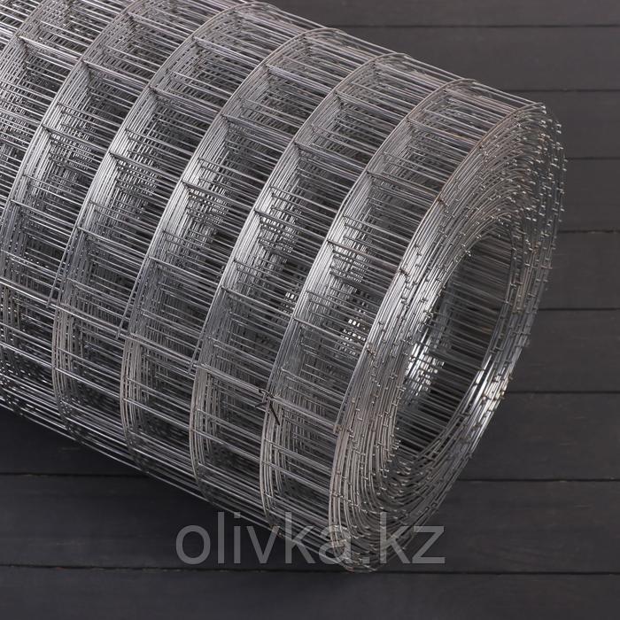 Сетка оцинкованная сварная 1,5 х 25 м, ячейка 50 х 50 мм, d=1,4 мм, металл