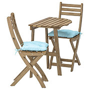 ASKHOLMEN АСКХОЛЬМЕН Стол+2 складных стула, д/сада, серо-коричневая морилка/Куддарна голубой