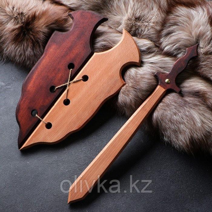 """Сувенирное деревянное оружие """"Набор воина"""", щит 36 х 27 см, меч 38 х 7 см"""