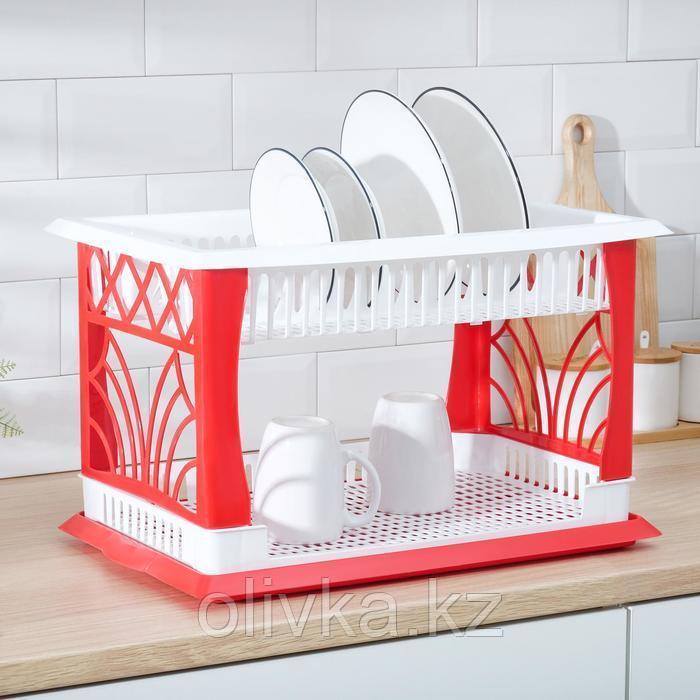 Сушилка для посуды 2-х ярусная Альтернатива «Мечта хозяйки», 48,5×30×30 см цвет МИКС