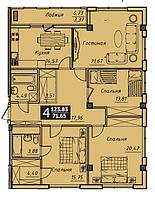 3 комнатная квартира в ЖК Liberty (Либерти) 129.43 м²
