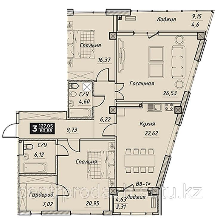 3 комнатная квартира в ЖК Liberty (Либерти)  127.05 м²