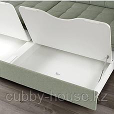 ЛАНДСКРУНА 3-местный диван-кровать, Гуннаред светло-зеленый/металл, фото 3
