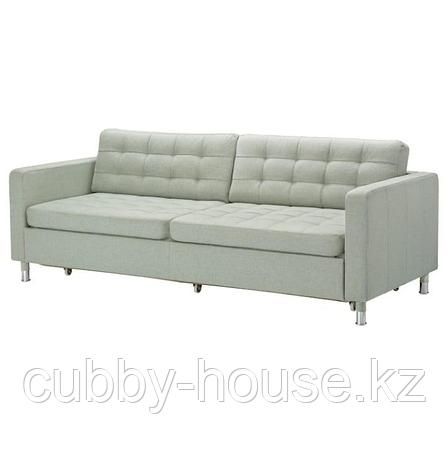 ЛАНДСКРУНА 3-местный диван-кровать, Гуннаред светло-зеленый/металл, фото 2