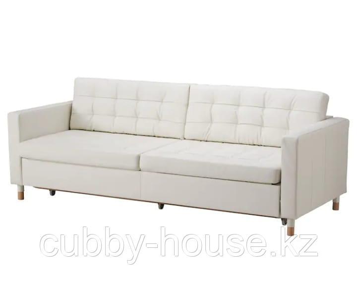 LANDSKRONA ЛАНДСКРУНА 3-местный диван-кровать с секциями для хранения, Гранн/Бумстад белый/дерево (металл)