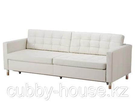 LANDSKRONA ЛАНДСКРУНА 3-местный диван-кровать с секциями для хранения, Гранн/Бумстад белый/дерево (металл), фото 2