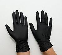 Перчатки нитриловые неопудренные, черные, размер L, UNEX, упаковка 100 шт