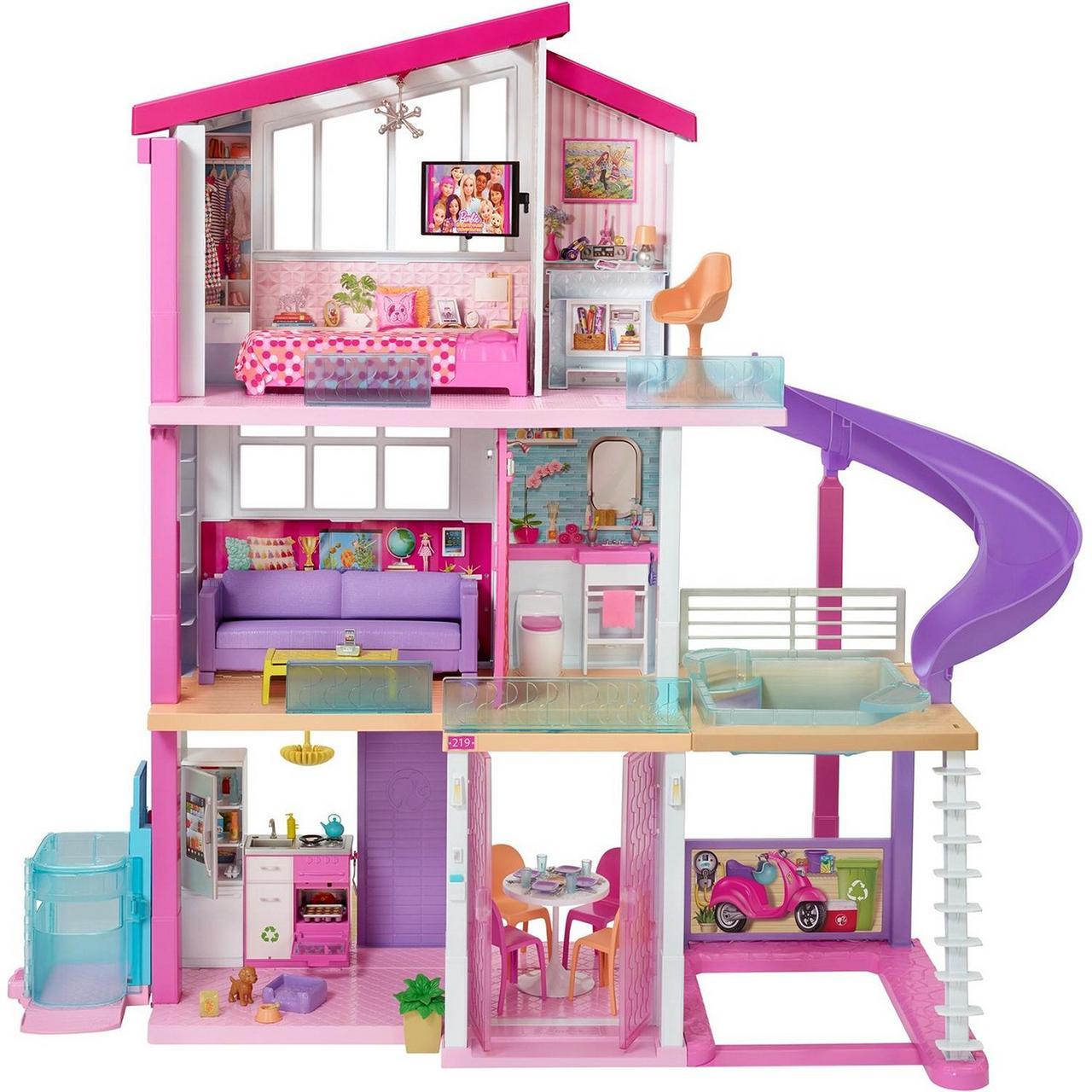 """Barbie Кукольный домик Барби """"Дом мечты"""" 3 этажный с лифтом и мебелью"""