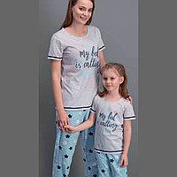 Пижама детская девичья 2/92 см, Серый