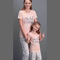 Пижама детская девичья 4/104 см, Пудровый