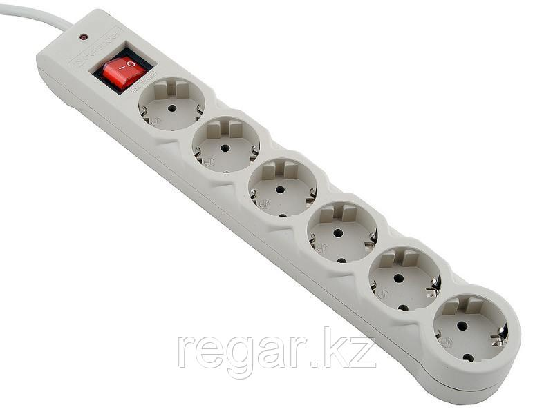 Сетевой фильтр Defender DFS 603 - 3,0 М, 6 розеток, серый