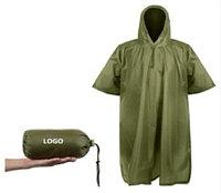 Универсальное многоразовое пончо от дождя для пеших прогулок (дождевик) Цвет: зеленый