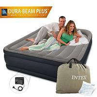 Кровать двуспальная с подголовником надувная со встроенным насосом INTEX 64136 Pillow Rest Raised Bed (64136,
