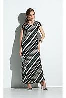 Женское летнее шифоновое зеленое большого размера платье Diva 1309 бел-зел_полоска 46р.