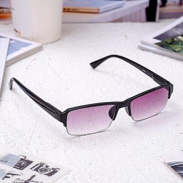 Очки корригирующие 0056, размер 13,3х13,2х3,3, цвет чёрный, тонированные, отгибающаяся дужка, -1