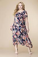 Женское летнее шифоновое большого размера платье Romanovich Style 1-1332 синий/персик 52р.
