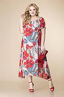 Женское летнее шифоновое красное большого размера платье Romanovich Style 1-1332 красный 52р.