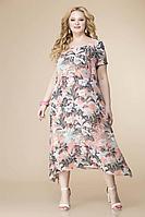 Женское летнее шифоновое большого размера платье Romanovich Style 1-1332 персик 52р.