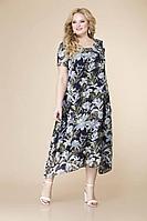 Женское летнее шифоновое большого размера платье Romanovich Style 1-1332 сине-голубой 52р.