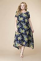 Женское летнее шифоновое синее большого размера платье Romanovich Style 1-1332 сине-желтый 52р.