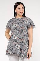 Женская летняя шифоновая большого размера блуза La rouge 6143 серый-(цветы) 46р.