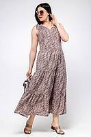 Женское летнее шифоновое бежевое большого размера платье La rouge 5326 капучино-набивной 48р.